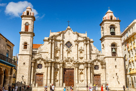 Cathedral Square with catholic church, historical center of Old Havana, Cuba