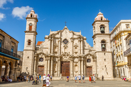 Cathedral Square with catholic church and bell towers, historical center of Old Havana, Cuba