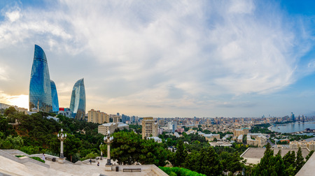 Overview panorama of central city business district in the sunset, Baku, Azerbaijan
