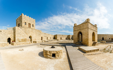 Inner yard of ancient stone temple of Atashgah, Zoroastrian place of fire worship, Baku, Azerbaijan