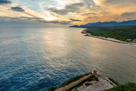 San Pedro de La Roca fort walls and Caribbean sea sunset view, Santiago De Cuba, Cuba