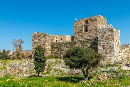 Gibelet old crusader castle walls and towers in Byblos, Lebanon Banco de Imagens