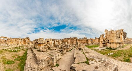 Ancient ruined walls and columns of Grand Court of Jupiter temple panorama, Beqaa Valley, Baalbeck, Lebanon