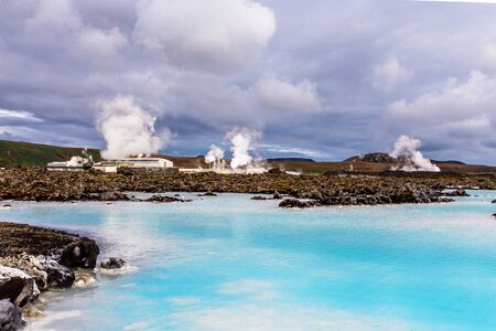 lagoon panorama with thermal power station in the background, Grindavik, Iceland