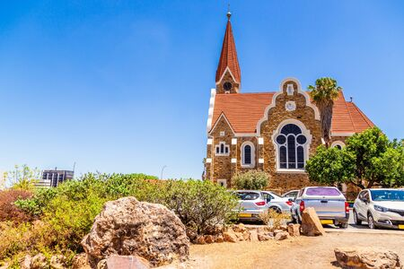 Luteran Christ Church and road with cars in front, Windhoek, Namibia
