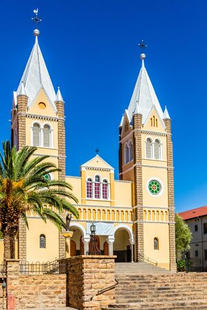 Catholic Saint Mary Church with blue sky  in background, Windhoek, Namibia 写真素材