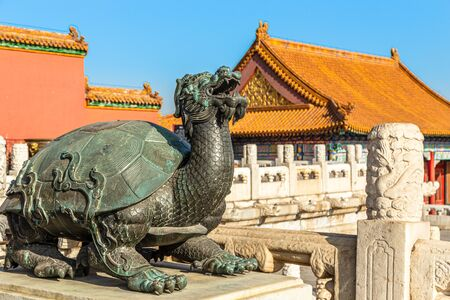 Bronze tortoise with a dragon head statue Baxia, in front of Palace of Heavenly Purity, Forbidden City, Beijing, China