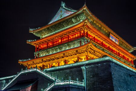 Illuminated Bell Tower temple of Xian, night scene, Xian, Shaanxi province, China