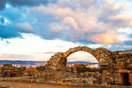 The Byzantine Saranta Kolones, Forty columns castle, ruined archs in a sunset time, Kato Paphos, Cyprus Banco de Imagens