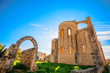Saint George cathedral ruined facade, Famagusta, North Cyprus Stock Photo