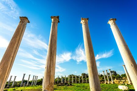 Ancient columns at Salamis, Greek and Roman archaeological site, Famagusta, North Cyprus