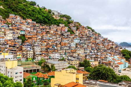 Colorful Brazilian favelas slums on the hill, Rio De Janeiro, Brazil