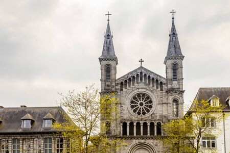 Facade of church of the Redemptorists of Tournai, Walloon municipality, Belgium