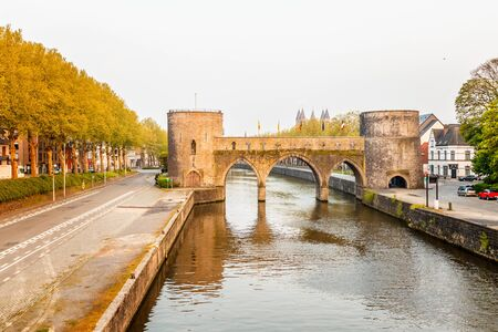 Bridge of holes or Pont des Trous, the medieval bridge across the river Escaut, Tournai, Belgium