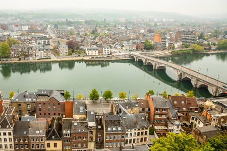 Meuse river with Jambes bridge and city panorama, Namur, Wallonia, Belgium