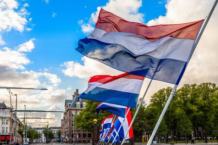 The Dutch tricolor flags waving on the wind, The Hague, Netherlands Banco de Imagens - 135855629