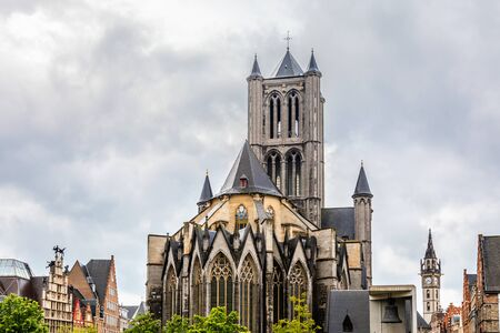 Ghent city historical center with Saint Nicholas cathedral towers, Flemish Region, Belgium Banco de Imagens
