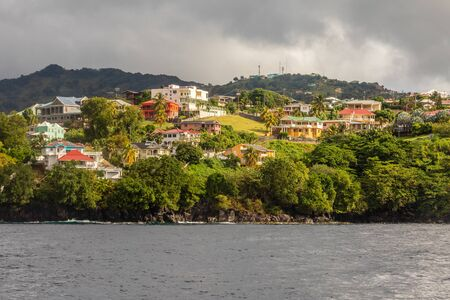 Coastline view with lots of villas on the hill, Kingstown, Saint Vincent and the Grenadines