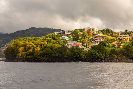 Coastline view with lots of living houses on the hill, Kingstown, Saint Vincent and the Grenadines Banco de Imagens