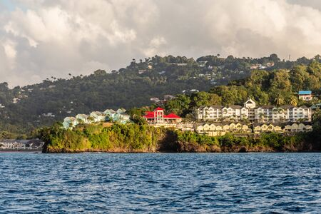 Coastline view with  villas and resorts on the hill, Castries, Saint Lucia Banco de Imagens