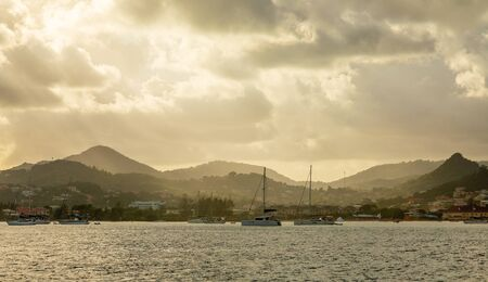 Sunrise view of Rodney bay with yachts anchored in the lagoon