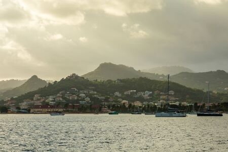 Sunrise view of Rodney bay with yachts anchored in the lagoon, Saint Lucia, Caribbean sea