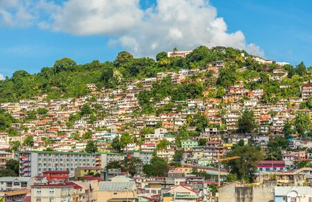 Lots of shantytown favelas on the hill, Fort De France, Martinique, French overseas department Stock Photo