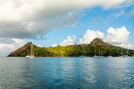 Yachts anchored at the Pigeon Island, Rodney bay, Saint Lucia, Caribbean sea