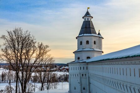 Fortified walls and tower, winter landscape, New Jerusalem Monastery , Istra, Moscow region, Russia