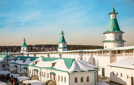 Inner yard of New Jerusalem Monastery with fortified walls and towers, Istra, Moscow region, Russia Stock Photo