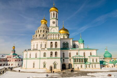 Voskresensky cathedral towers and golden domes with inner yard of  New Jerusalem Monastery, Istra, Moscow region