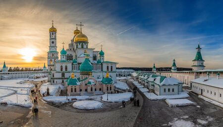 Voskresensky cathedral golden domes in a sunset light, Resurrection or New Jerusalem Monastery, Istra, Moscow region Stock Photo