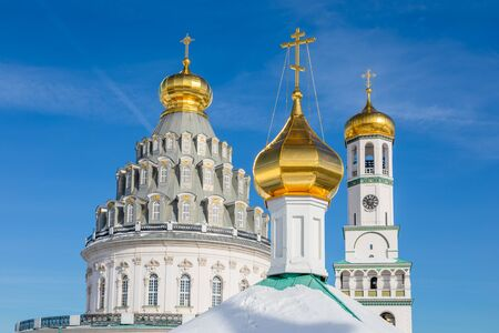 Golden domes of Voskresensky cathedral in Resurrection or New Jerusalem Monastery, Istra, Moscow region
