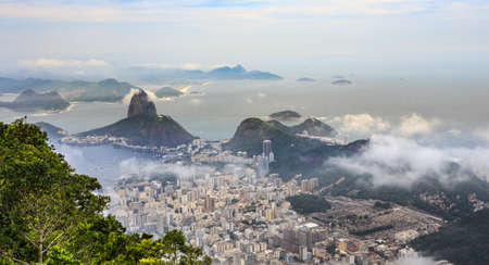 Rio city center downtown panorama with coastline and Sugar Loaf mountain, Rio de Janeiro, Brazil Stock Photo