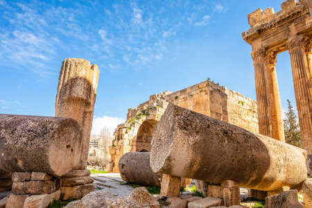 Ancient ruins of Jupiter temple with blue sky in the background, Bekaa Valley, Baalbek, Lebanon Stock Photo