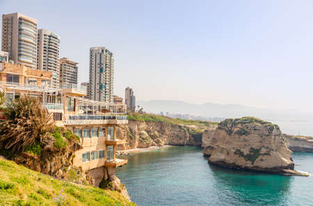 Raouche or pigeons rocks panorama with sea and ciry center in the background, Beirut, Lebanon