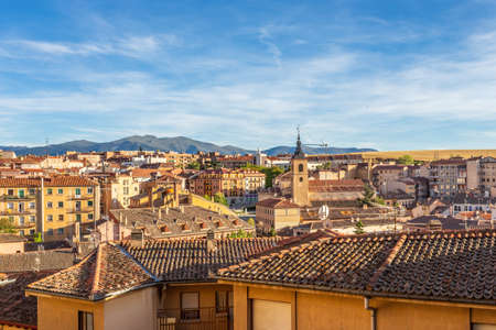 Historic city center panorama with mountains in the background, Segovia, Spain Banco de Imagens