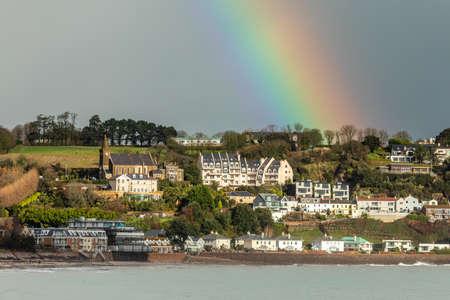 Rainbow over Gorey village, Saint Martin, bailiwick of Jersey, Channel Islands