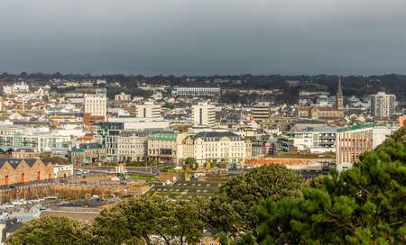 Saint Helier capital city panorama, bailiwick of Jersey, Channel Islands