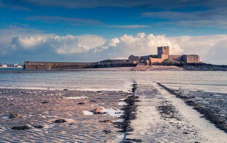 Saint Aubin Fort in a low tide, bailiwick of Jersey, Channel Islands