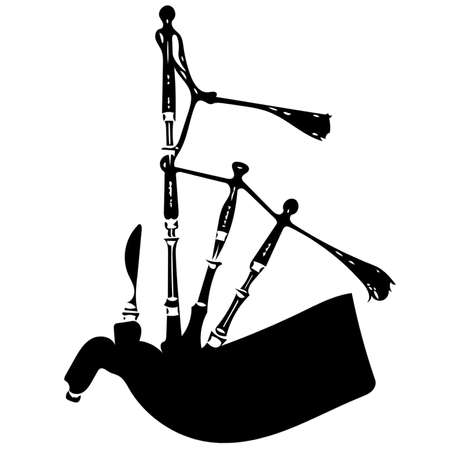 A black and white silhouette sketch of a set of bagpipes.