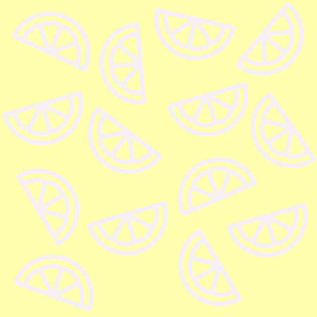 A pattern of silhouette illustrations of half of white lemons on a yellow background.