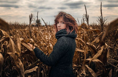 A girl with red curly hair in a gray coat with a collar is turning around in a yellow corn field against a gray sky Archivio Fotografico