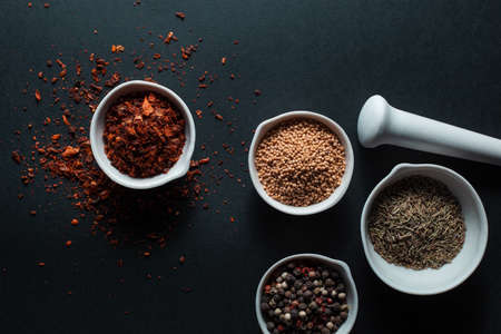 Paprika, mustard, caraway seeds and a mixture of peppercorns in white ceramic bowls next to the mortar isolated on black background
