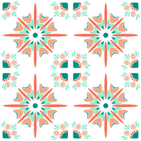 Pattern, floral abstract pattern, repeats on a grid. Suitable for use on the background, wallpaper, printed matter, wrapping paper, ceramic inflow. Vector illustration.