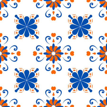 An abstract pattern in the style of a peronda tile, repeated on a grid. Suitable for backdrops, wallpapers, printed matter, wrapping paper, ceramic fill. Vector illustration.