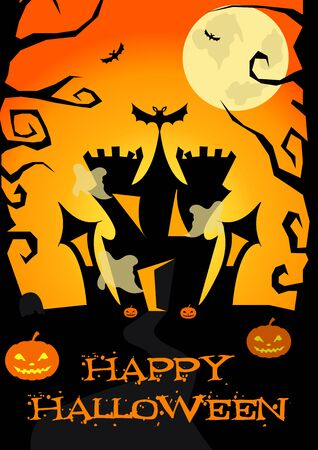 wrath: Halloween poster with castle, ghosts, pumpkins, trees bats, Jack-o lantern Illustration