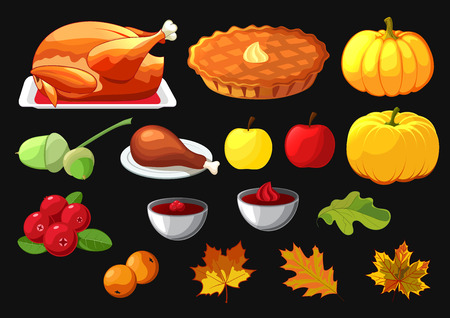 cranberries: Set of element for Happy Thanksgiving Day on black background. Badge, icon, template an apple, cranberries, pumpkin pie, leaf, turkey, sous, rowan berry. Illustration