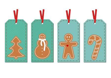 Set with Merry Christmas and Happy New Year gift tags