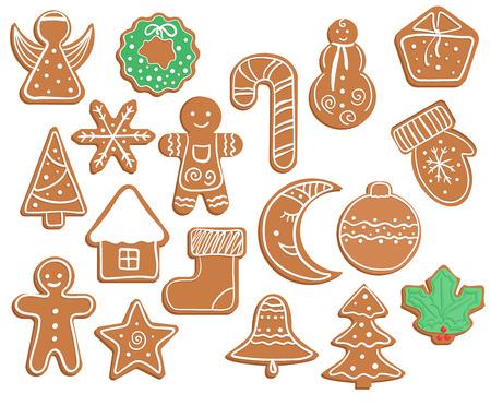 Lebkuchen Weihnachts- und Neujahrsplätzchen auf weißem Hintergrund.